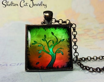 "Tree of Life Necklace - Green and Orange - 1"" Square Pendant or Key Ring - Handmade Wearable Photo Art Jewelry"
