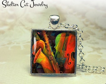 "Violin and Saxophone Abstract Necklace - 1"" Square Pendant or Key Ring - Handmade Wearable Photo Art Jewelry - Colorful Music, Musician Gift"