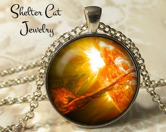 "Solar Filament Erupts Pendant - 1-1/4"" Round Necklace or Key Ring - Wearable Photo Art Jewelry - Universe, Galaxy, Space, Science, Sun Gift"
