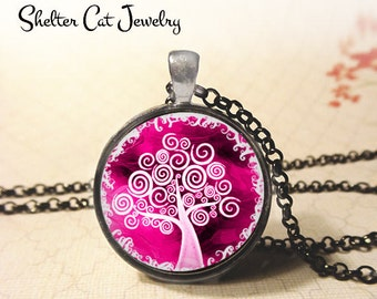 "Pink Curly Tree of Life Necklace - 1-1/4"" Round Pendant or Key Ring - Handmade Wearable Photo Art Jewelry - Spiritual New Age, Nature Gift"