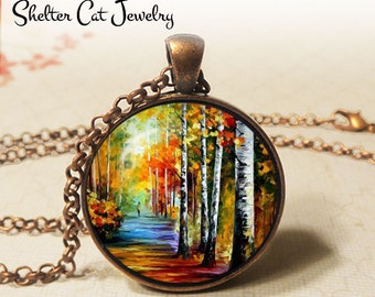 """Forrest Path Painting Necklace - 1-1/4"""" Circle Pendant or Key Ring - Wearable Art Photo - Trees, Impressionist Artwork, Pathway, Walk, Gift"""