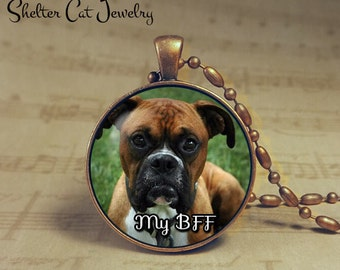 "Boxer Necklace - My BFF Dog - 1-1/4"" Circle Pendant or Key Ring - Handcrafted Dog Wearable Photo Art Jewelry, Gift for Boxer Mom or Dad"