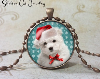 "Christmas Bichon Frise Dog in Santa Hat and Bow Necklace - 1-1/4"" Circle Pendant or Key Ring - Humor Christmas Puppy -  Holiday Present Gift"