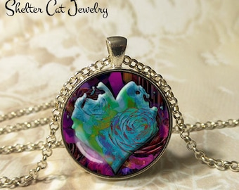 "Turquoise Heart Necklace - 1-1/4"" Circle Pendant or Key Ring - Handmade Wearable Art Photo - Gothic Grunge Romantic Heart Floral Gift"