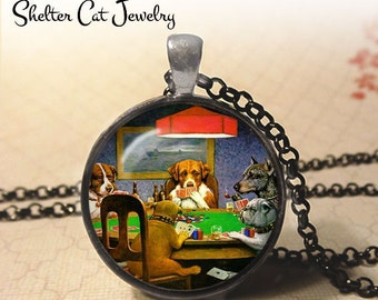 """Dogs Playing Poker Necklace - C. M. Coolidge Necklace - 1-1/4"""" Circle Pendant or Key Ring - Photo Art Jewelry - Famous Painting Art Gift"""