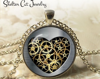 """Steampunk Mechanical Gold Heart Necklace - 1-1/4"""" Circle Pendant or Key Ring - Handmade Wearable Art Photo - Gears, Science, Nature, Gift"""