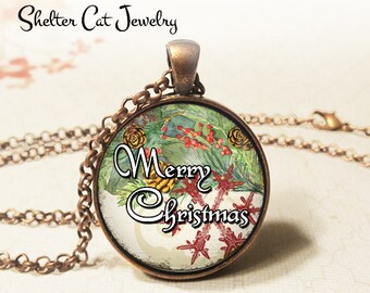 "Merry Christmas and Snow Flake Necklace - 1-1/4"" Circle Pendant or Key Ring - Wearable Photo Art Jewelry - Artwork, Winter, Christmas Gift"
