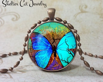 "Blue Butterfly Pendant - 1-1/4"" Round Necklace or Key Ring - Handmade Wearable Photo Art Jewelry - Gift for her"