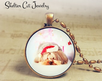 "Christmas Shih Tzu in Santa Hat Necklace - 1-1/4"" Circle Pendant or Key Ring - Holiday Dog - Christmas Present Holiday Gift Animal Lover"