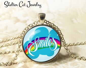 """Smiles Necklace - 1-1/4"""" Circle Pendant or Key Ring - Wearable Photo Art Jewelry - Happy, Joy, Inspire, Motivation, Inspiration Gift for Her"""