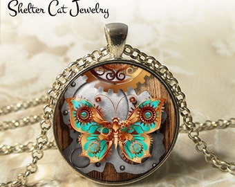 """Steampunk Mechanical Butterfly Necklace - 1-1/4"""" Circle Pendant or Key Ring - Handmade Wearable Art Photo - Gears, Science, Nature, Gift"""