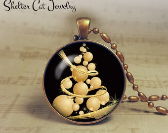 "Bubble Christmas Tree Necklace - 1-1/4"" Circle Pendant or Key Ring - Gold Tree - Seasons Greetings - Christmas Present or Holiday Gift"