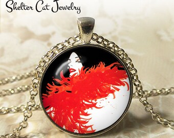 """Lady with Red Feather Boa Necklace - 1-1/4"""" Circle Pendant or Key Ring - Wearable Photo Art Jewelry - Woman Artistic Illustration Gift"""