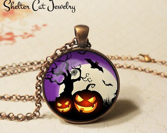 "Evil Jack O'Lanterns Necklace - 1-1/4"" Circle Pendant or Key Ring - Wearable Art Photo - Halloween Tree Trick Or Treat Scary Pumpkin Gift"