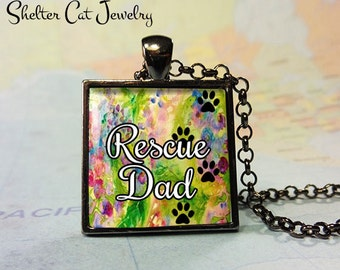 "Rescue Dad Paw Print Pendant - 1"" Square Necklace or Key Ring - Handcrafted Wearable Shelter Cats Photo Art Jewelry"