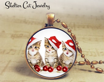 "Christmas Kittens in Santa Hats Necklace - 1-1/4"" Circle Pendant or Key Ring - Holiday Cat - Christmas Present Holiday Gift Animal Lover"