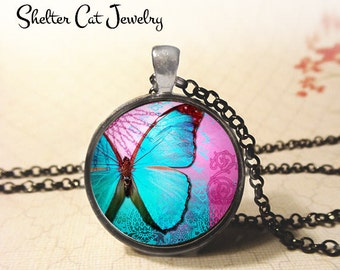"Blue Butterfly On Pink Pendant - 1-1/4"" Round Necklace or Key Ring - Handmade Wearable Photo Art Jewelry - Nature, Gift for Her"