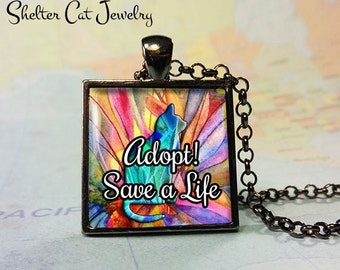 "Adopt! Save a Life Cat Pendant - 1"" Square Necklace or Key Ring - Handcrafted Wearable Shelter Cats Photo Art Jewelry"