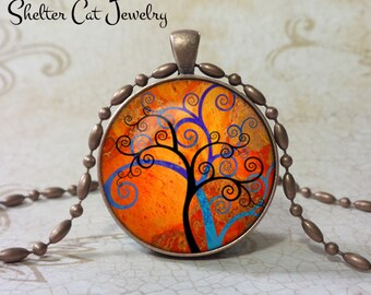 """Magical Tree Pendant - 1-1/4"""" Round Necklace or Key Ring - Handmade Wearable Photo Art Jewelry"""
