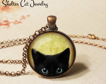 """Inquisitive Black Cat Peeks Up Necklace - 1-1/4"""" Circle Pendant or Key Ring - Wearable Art Photo - Curious Cat Gothic Halloween Cat Lover"""