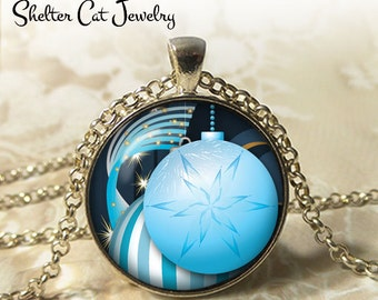 """Blue Christmas Oranment Necklace - 1-1/4"""" Circle Pendant or Key Ring - Merry Christmas - Photo Art Jewelry - Christmas Present, Holiday Gift"""