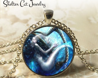 "Mermaid Playing a Harp Necklace - 1-1/4"" Round Pendant or Key Ring - Handmade Wearable Photo Art Jewelry - Woman, Fairytale, Charming Gift"