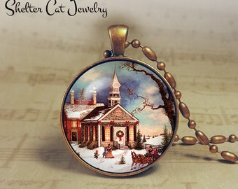 "Winter Wonderland with Church - 1-1/4"" Circle Pendant or Key Ring - Colorful Snowy Scene - Vintage Christmas Present or Holiday Gift"