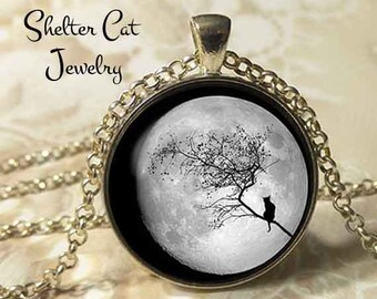 "Black Cat Over a Full Moon Necklace - 1-1/4"" Circle Pendant or Key Ring - Wearable Art Photo - Cat Gothic Halloween Cat Lover Gift"
