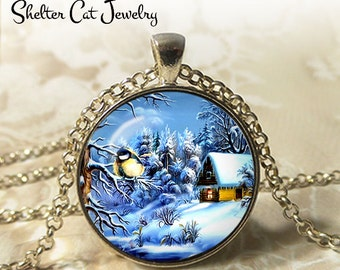 "Winter Wonderland with a Swallow - 1-1/4"" Circle Pendant or Key Ring - Photo Art Jewelry - Vintage Christmas Scene, Blue Bird, Holiday Gift"