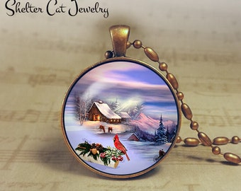 "Winter Wonderland with Cardinal - 1-1/4"" Circle Pendant or Key Ring - Colorful Snowy Scene - Wintery Christmas Present or Holiday Gift"