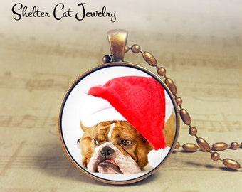 "Christmas Bulldog in Santa Hat Necklace - 1-1/4"" Circle Pendant or Key Ring - Holiday Dog - Christmas Present Holiday Gift Animal Lover"