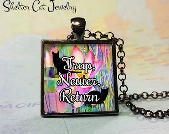 "TNR - Trap, Neuter, Return Cat Pendant - 1"" Square Necklace or Key Ring - Handmade Wearable Shelter Cats Photo Art Jewelry"