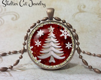 "Sparkly White Christmas Tree Necklace - 1-1/4"" Circle Pendant or Key Ring - White Tree Seasons Greetings - Christmas Present - Holiday Gift"
