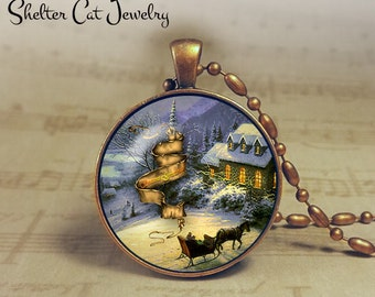"Winter Wonderland with Horse and Sleigh - 1-1/4"" Circle Pendant or Key Ring - Colorful Snowy Scene - Christmas Present or Holiday Gift"
