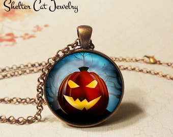 "Scary Jack O'Lantern Necklace - 1-1/4"" Circle Pendant or Key Ring - Wearable Art Photo - Halloween Ghoul Trick Or Treat Scary Pumpkin Gift"