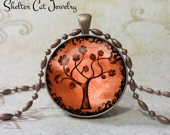 "Tree of Life Necklace - Copper - 1-1/4"" Round Pendant or Key Ring - Handmade Wearable Photo Art Jewelry, Nature Picture Gift, Charm"