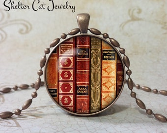 "Library Book Necklace - Classics - 1-1/4"" Book Pendant or Key Ring - Handmade Book Jewelry - Gift for Librarian, Teacher, Writer, Book Lover"