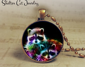 """Raccoon Necklace - 1-1/4"""" Circle Pendant or Key Ring - Handmade Wearable Photo Art Jewelry - Nature Art - Raccoons in Fractals - Gift"""