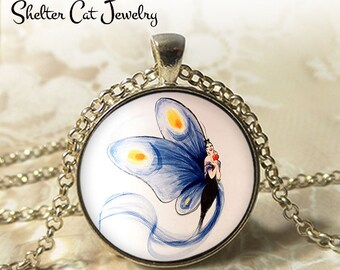 """Blue Butterfly Lady Necklace - 1-1/4"""" Circle Pendant or Key Ring - Wearable Photo Art Jewelry - Woman Nature Artistic Illustration Gift"""