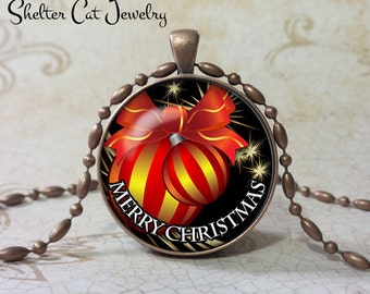 "Red and Gold Christmas Oranment Necklace - 1-1/4"" Circle Pendant or Key Ring - Merry Christmas - Christmas Present or Holiday Gift"