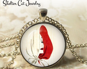 """Woman in White Hood Necklace - 1-1/4"""" Circle Pendant or Key Ring - Wearable Photo Art Jewelry - Female, Woman Artistic Illustration Gift"""