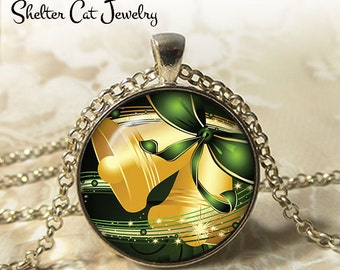 """Gold Bells Christmas Necklace - 1-1/4"""" Circle Pendant or Key Ring - Merry Christmas - Photo Art Jewelry - Christmas Present Holiday Gift"""