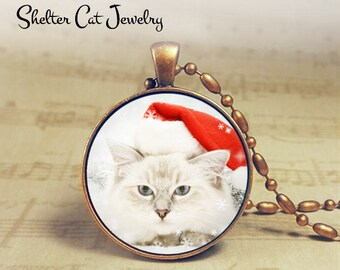 "White Christmas Kitty in Santa Hat Necklace - 1-1/4"" Circle Pendant or Key Ring - Holiday Cat - Christmas Present Holiday Gift Animal Lover"