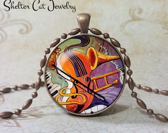 "Violin, Trombone, Keyboards Abstract Necklace - 1-1/4"" Circle Pendant or Key Ring - Handmade Wearable Photo Art Jewelry- Music Musician Gift"