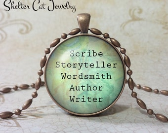 "Writer/Wordsmith Necklace - 1-1/4"" Circle Pendant or Key Ring - Handmade Wearable Photo Art Jewelry - Gift for Scribe, Writer, Novelist"