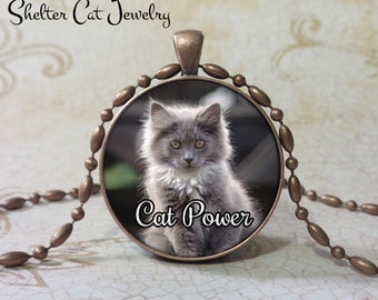 "Cute Kitty Cat Power Pendant - 1-1/4"" Round Pendant Necklace or Key Ring - Handmade Wearable Shelter Cats Photo Art Jewelry"