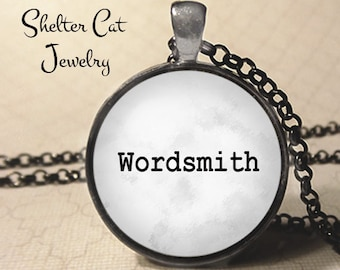 "Wordsmith Necklace - 1-1/4"" Circle Pendant or Key Ring - Handmade Wearable Photo Art Jewelry - Scribe, Writer, Novelist, Screenwriter Gift"