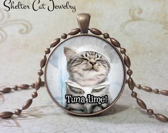 "Tuna Time Cat Pendant 1-1/4"" Round Pendant Necklace or Key Ring - Handmade Wearable Shelter Cats Photo Art Jewelry"
