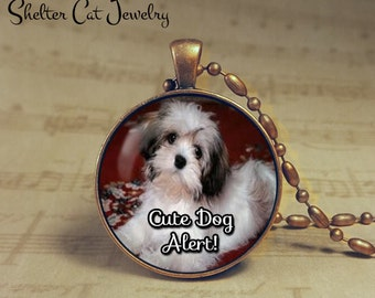 "Cute Dog Alert Necklace - 1-1/4"" Circle Pendant or Key Ring - Handcrafted Dog Wearable Photo Art Jewelry - Gift for Puppy Person"