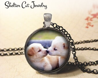 "Kissing Puppies Necklace - 1-1/4"" Circle Pendant or Key Ring - Handmade Wearable Photo Art Jewelry - Labrador Dogs, Dog Lover Art Gift"